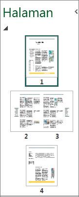 Panel navigasi halaman memperlihatkan satu halaman maupun bentang dua halaman.