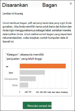 Panel bagan Excel yang direkomendasikan saat tidak ada data yang ada dalam lembar kerja. Pilih mencoba sampel data untuk secara otomatis menambahkan sampel dataset ke lembar kerja Anda.