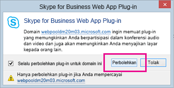 Mempercayai domain Plug-in Skype for Business Web App