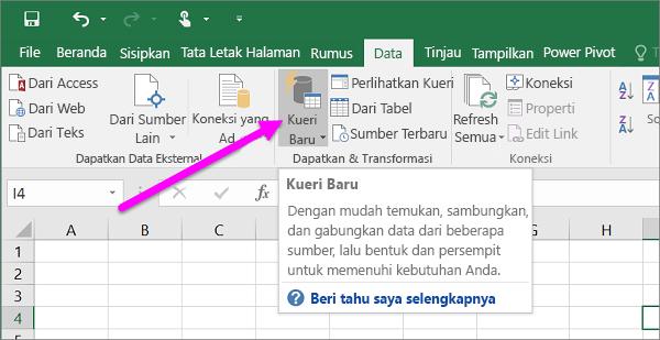 Kueri Baru di Excel 2016