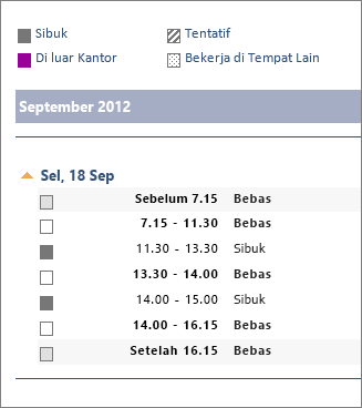 Contoh berbagi kalender di email