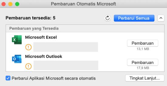 Gambar dasbor Microsoft AutoUpdate dengan informasi tentang pembaruan.