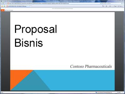 Peragaan slide yang disiarkan, seperti yang terlihat di browser