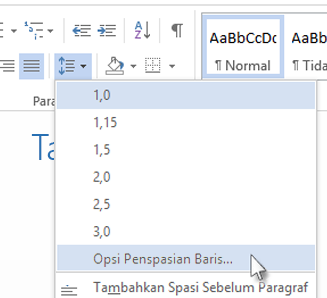 Menu penspasian baris di Word Web App