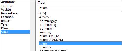 Dialog Format sel, perintah Kustom, tipe h:mm