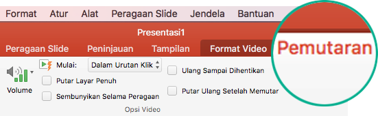 Ketika video dipilih dalam slide, tab Pemutaran muncul di pita toolbar, yang memungkinkan Anda mengatur opsi pemutaran video.
