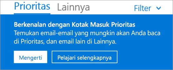 Gambar tampilan Kotak Masuk Prioritas ketika pengguna membuka Outlook di web pertama kali.