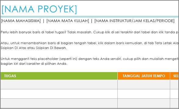 Templat lama Daftar tugas proyek dengan font minimum 8,5.