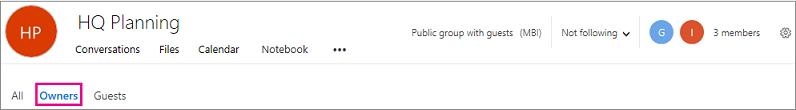 Header Groups dengan link pemilik disorot
