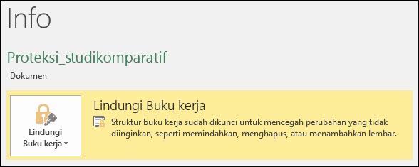 Memproteksi buku kerja status disorot di Info tab