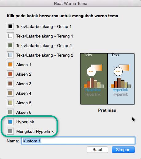Pilih warna untuk hyperlink dan hyperlink diikuti