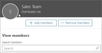 Cuplikan layar: Menambahkan anggota ke daftar distribusi