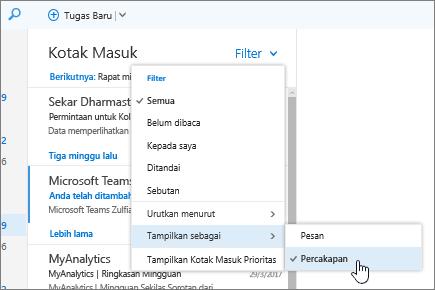 Cuplikan layar Kotak Masuk, memperlihatkan Filter > Perlihatkan Sebagai > Percakapan dipilih.