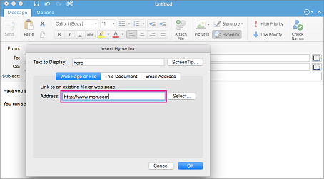 Dialog hyperlink di Outlook untuk Mac