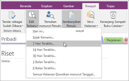 Cuplikan layar tombol Pengeditan Terbaru di OneNote 2016.