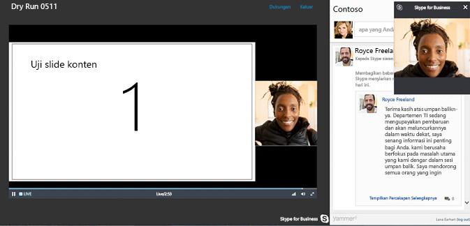 Siaran Rapat Skype dengan integrasi Yammer