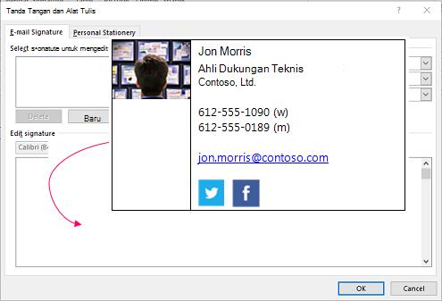 Menyisipkan blok tanda tangan kustom dalam kotak teks tanda tangan email di tanda tangan dan alat tulis kotak dialog