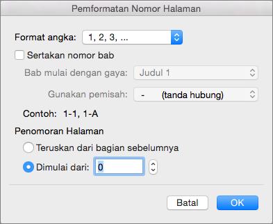 Pilih gaya penomoran dan nomor awal dalam Format Nomor Halaman.