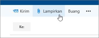 Cuplikan layar tombol Lampirkan.