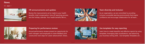 Cuplikan layar komponen web berita