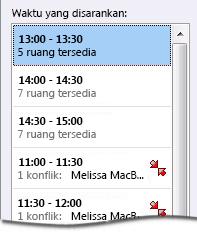 Panel waktu yang disarankan untuk permintaan rapat