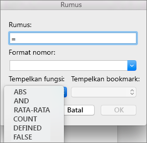 Dalam kotak Rumus, pilih fungsi dari daftar fungsi Tempel