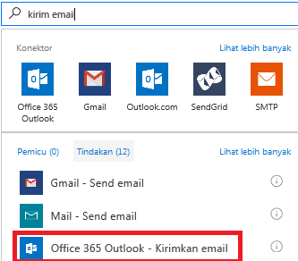 Cuplikan layar: Pilih tindakan: Office 365 Outlook - kirim email
