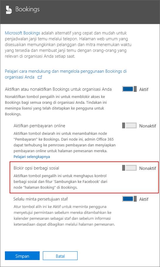 Cuplikan layar: Blok sosial opsi berbagi di Pemesanan