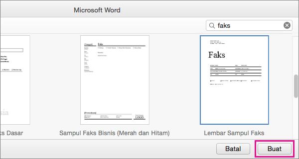 """Untuk membuat lembar sampul faks, Cari """"faks,"""" pilih templat, dan klik Buat."""