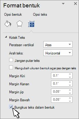 Panel format bentuk dengan bungkus teks dipilih