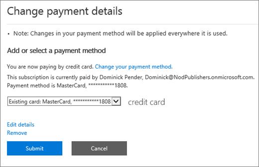 Cuplikan layar 'Ubah detail pembayaran' panel untuk langganan yang saat ini dibayar dengan kartu kredit.
