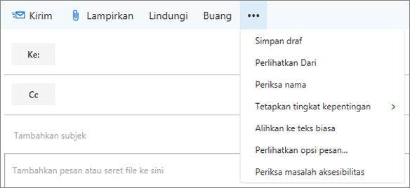 Cuplikan layar memperlihatkan opsi yang tersedia dari perintah lainnya pada toolbar pesan email.