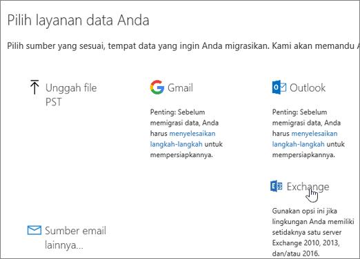 Di halaman Migrasi, pilih Exchange sebagai layanan data Anda