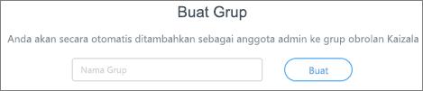 Cuplikan layar: Masukkan nama untuk membuat grup Kaizala baru