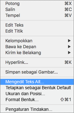 Menu konteks untuk bentuk dengan opsi teks Alt dipilih.
