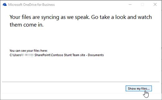 Dialog sinkronisasi OneDrive for Business memperlihatkan tombol file saya disorot.