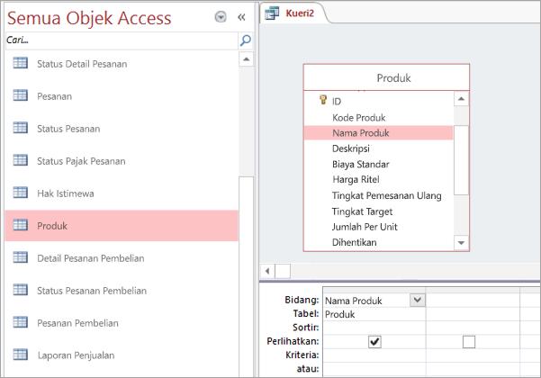 Cuplikan layar dari semua tampilan objek Access