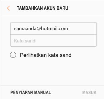Alamat email dan kata sandi