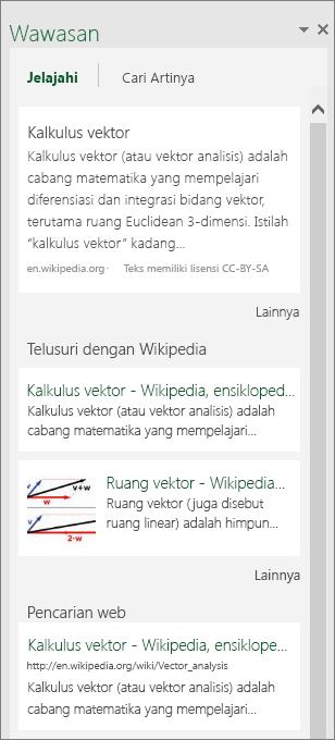 Panel wawasan di Excel 2016 untuk Windows