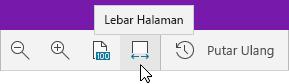 Memperlihatkan opsi zoom dengan opsi Lebar Halaman dipilih