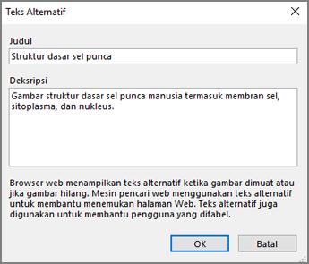 Cuplikan layar dialog teks alternatif di OneNote dengan teks contoh di bidang Judul dan Deskripsi.