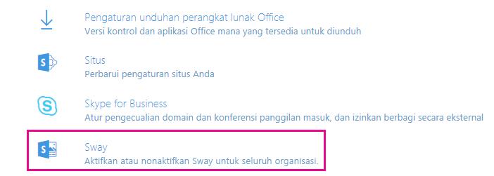 """Gulir ke bawah di layar """"Layanan & add-in"""", lalu klik Sway."""
