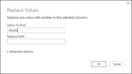 Power query > editor kueri > mengganti nilai