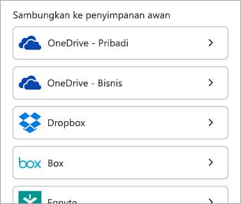 Pilih layanan awan Anda.
