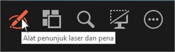 Gunakan alat laser atau pena untuk menunjuk atau menulis pada slide