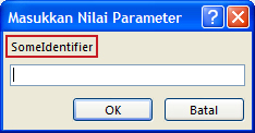 """Memperlihatkan contoh kotak masukkan nilai Parameter dialog tak terduga, dengan garis merah muda di label pengidentifikasi """"SomeIdentifier"""", bidang untuk memasukkan nilai, dan tombol OK dan Batal."""