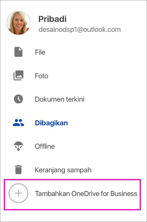 Menambahkan OneDrive for Business.