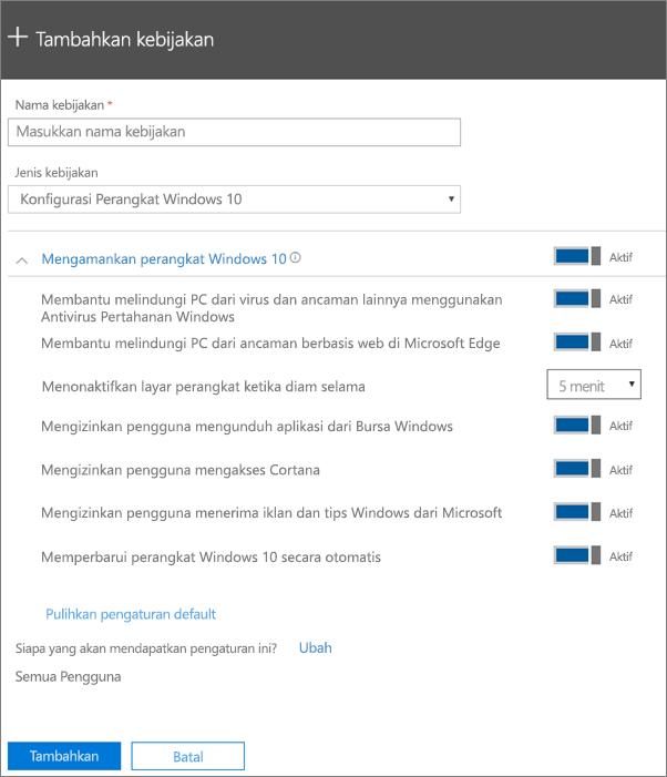 Panel Tambahkan kebijakan dengan Konfigurasi Perangkat Windows 10 dipilih