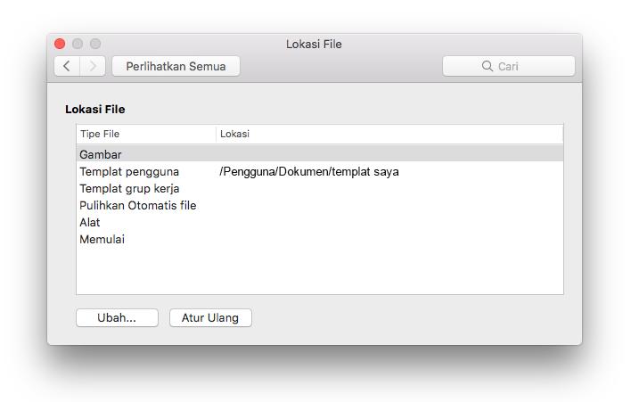 cuplikan layar panel Preferensi lokasi File dari Microsoft Word