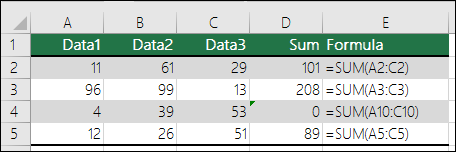 Excel menampilkan kesalahan saat rumus tidak cocok dengan pola rumus yang berdekatan